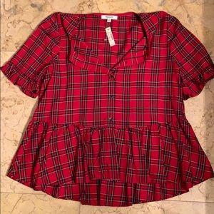 Peplum plaid blouse by Madewell